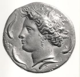 Dekadrachm with obverse of Arethusa and four dolphins