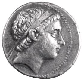Tetradrachm of Antiochos III, figure of Apollo on reverse side