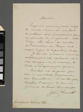 Autograph letter to unidentified gentleman from Felicien David