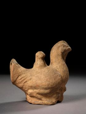 Burial figure of a hen and chicks