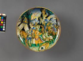 Dish (coppa) (coupe) depicting 'Judith with the Head of Holofernes'