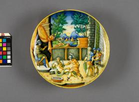 Dish (coppa) depicting a scene from the 'Story of Nero'