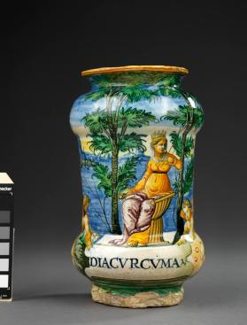Two apothecary jars (albarelli) with depictions of seated Queens (Diacurcuma is a preparation of saffron)