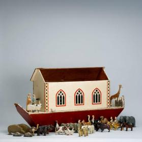 Noah's ark and carved animal pairs