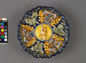 Poly-lobed moulded dish (crespina) depicting 'The Martyrdom of Saint Sebastian'