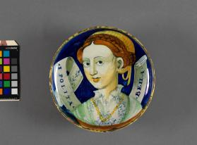 Plate (coppa amatoria) with a depiction of a woman 'Ipolita Bella""