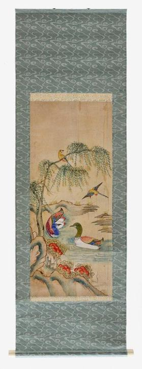 Hanging scroll painting of flowers and birds in landscape 민화 화조도