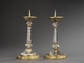 Crystal and silver pricket candlestick