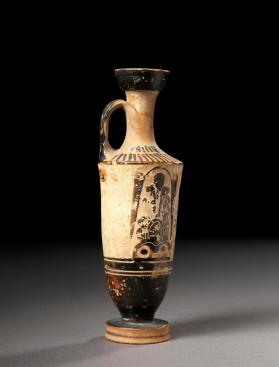 Attic white-ground lekythos decorated with black-figure palmettes