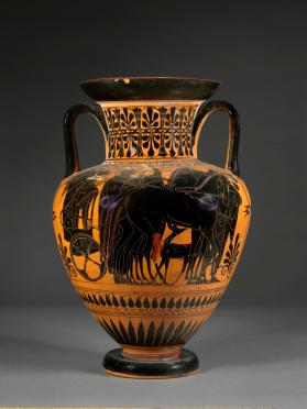 Attic black-figure amphora with lid showing Dionysos and Ariadne in a chariot with gods