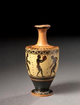 Attic black-figure, white-ground lekythos showing various athletes