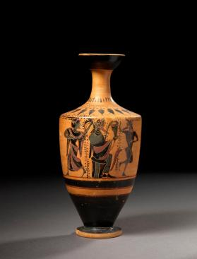 Attic black-figure lekythos showing Dionysos with satyr and maenad