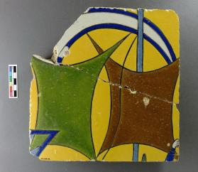 Tile of sails from spandrel frieze with ship