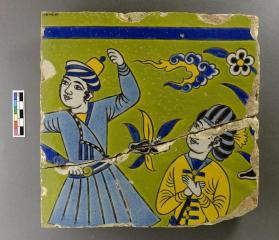Tile of young men from spandrel frieze
