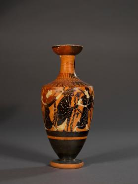 Attic black-figure lekythos showing Dionysos with satyrs and maenads