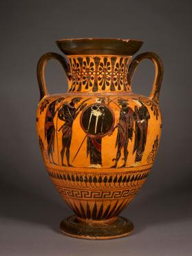 Attic black-figure amphora showing Athena with Herakles; Dionysos and companions