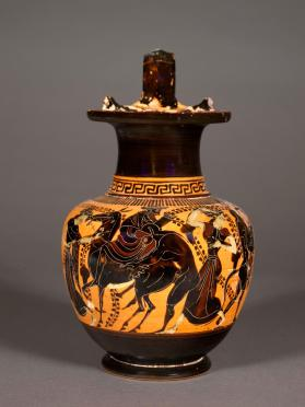Attic black-figure oinochoe with Dionysos on a mule, satyrs and maenads