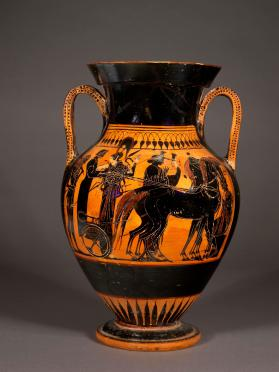 Attic black-figure amphora showing Herakles and gods of Olympos
