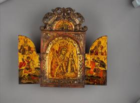 Icon Triptych of the Virgin of the Never Fading rose, Saints Nicholas, Athanasius, George and Demetrios