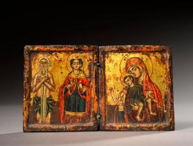 Icon Diptych of the Mother of God of Kikkos with Infant Holding Open Scroll, and of SS Onuphrios and Trophimus