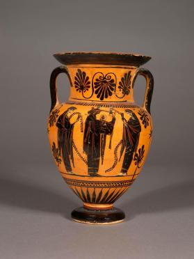 Attic black-figure amphora showing Dionysos and Apollo