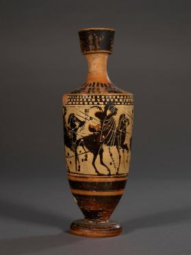 Attic black-figure, white-ground lekythos showing three warriors on horseback