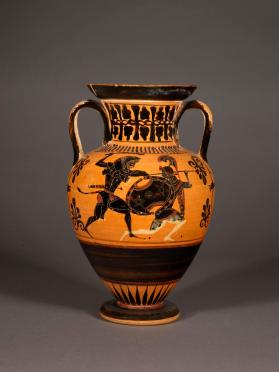 Attic black-figure amphora showing Herakles fighting an Amazon