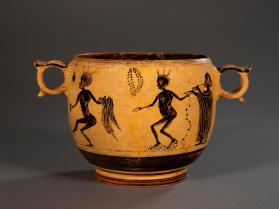Boeotian black-figure 'Kabiros' kantharos with naked men dancing