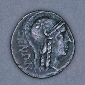 Triobol with head of Athena, reverse with slinger and two javelins