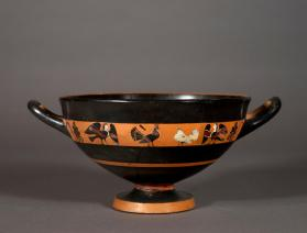 Attic black-figure cup with frieze of cocks and sirens