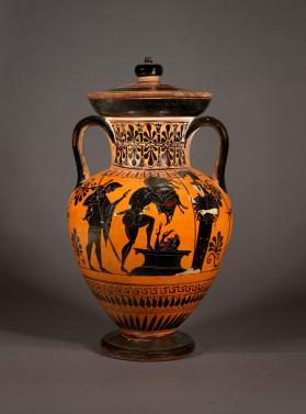 Attic black-figure lidded amphora showing Herakles and the Erymanthian boar