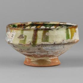 Sgraffito bowl with multi-petalled rosette