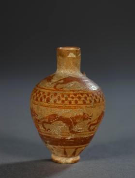 Protocorinthian aryballos with 'running dog' frieze and animal frieze