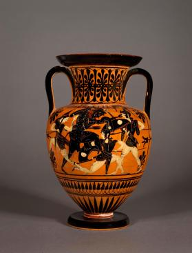 Attic black-figure amphora showing Herakles fighting Amazons