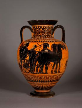 Attic black-figure amphora showing warriors departing for battle.