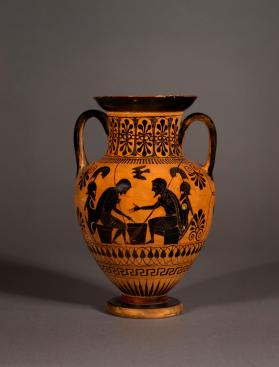 Attic Black-figure amphora showing Achilles and Ajax playing a game