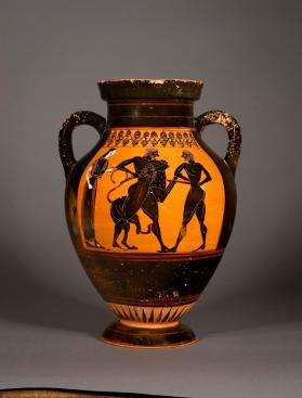 Attic black-figure amphora with Herakles wrestling the Nemean lion