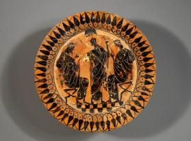 Black-figure plate with Athena between Dionysus and Poseidon