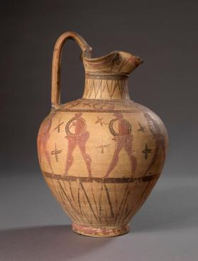 Italic oinochoe (jug) decorated with ten warriors