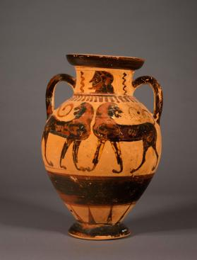 Attic black-figure amphora with pairs of cocks and lions and a bearded man's head