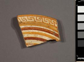 Fragment of the rim of an East Greek dish with bands and key pattern decoration