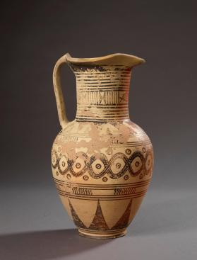 Italo-Geometric oinochoe decorated with entwined snake pattern