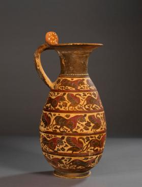 Etrusco-Corinthian black-figure jug with animal friezes