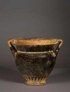 Laconian black-gloss krater with patterned rim