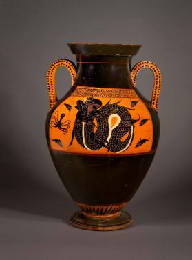 Attic black-figure amphora showing Herakles wrestling with Triton