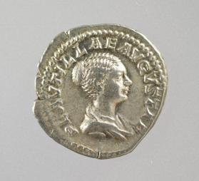 Denarius coin of Fulvia Plautilla, wife of Caracalla