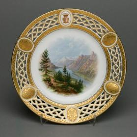 "Plate from the Lord Milton dessert service with scene ""The Assiniboine Rescues Bucephalus"""