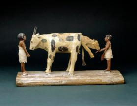 Funerary model of cow giving birth