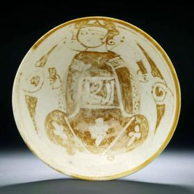 """Tell Minis"" type bowl with seated man"