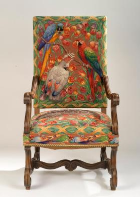 Tapestry-covered armchair